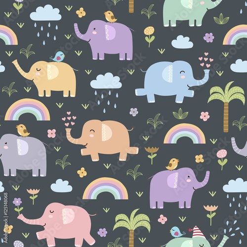 Cotton fabric Funny elephants seamless pattern