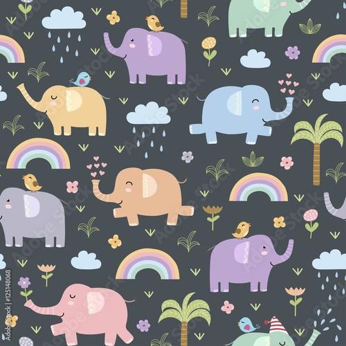 Cotton fabric Funny elephants seamless pattern