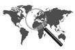 World Map Magnifying Glass Illustration