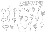 Hand drawn balloons set. Coloring book page template.  Outline doodle vector illustration.