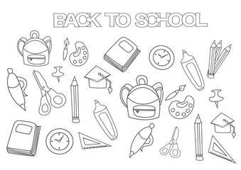 Back to school set. Coloring book page template.  Outline doodle vector illustration.