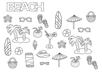 Hand drawn beach set. Coloring book page template.  Outline doodle vector illustration.
