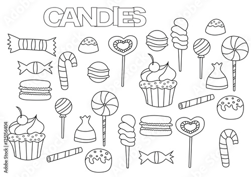 Hand drawn candy bar set. Coloring book page template. Outline doodle vector illustration.