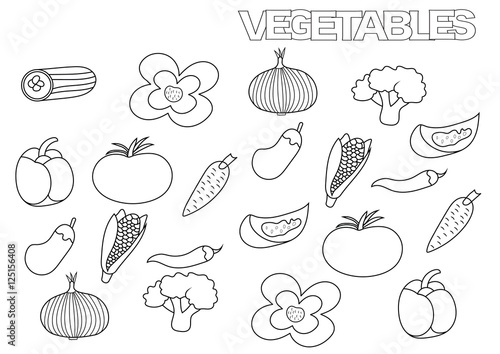 Hand drawn vegetables set. Coloring book page template. Outline doodle vector illustration.