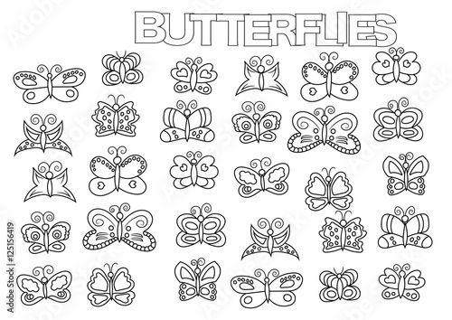Hand drawn butterflies set. Coloring book page template. Outline doodle vector illustration.