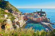 Aerial scenic view of Vernazza, Cinque Terre, Italy