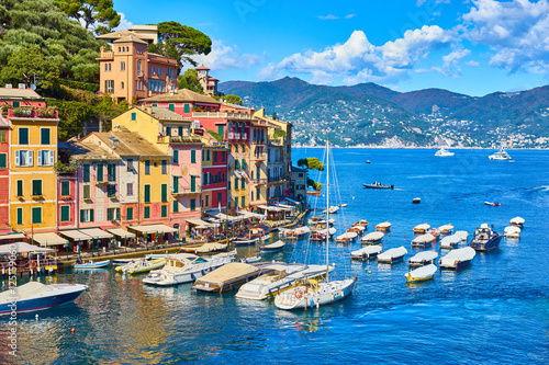 """Old town of """"Portofino"""" in Italy / Harbor on sunny summer day Poster"""