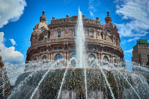 """Palazzo della Borsa"" and great fountain at central Place in Genoa / Historical Poster"