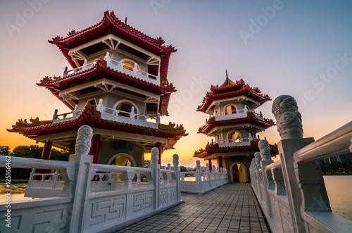 Plagát Twin Pagoda of Chinese Garden
