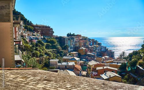 Papiers peints Ligurie Famous town of Manarola in Cinque Terre / Colorful houses of Liguria