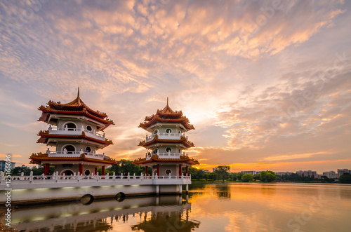Twin Pagoda of Chinese Garden Poster