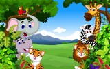 funny animal cartoon with forest background © jihane37