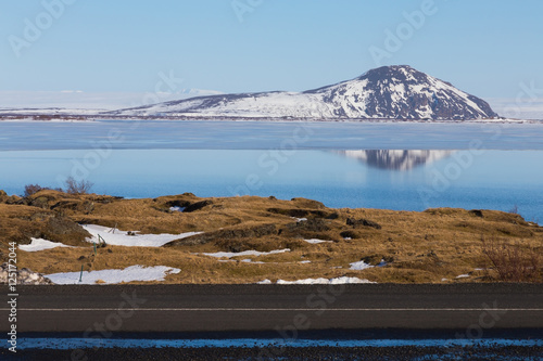 Plakát Snow cover mountain background over the lake winter season, Iceland winter lands
