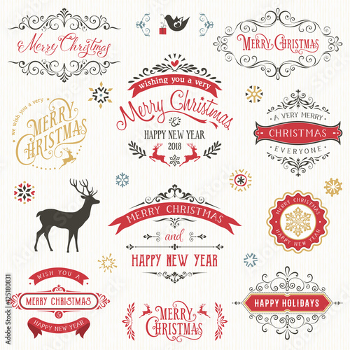 Vintage typographic design set. Ornate vector labels and badges with Merry Christmas and Happy New Year wishes.