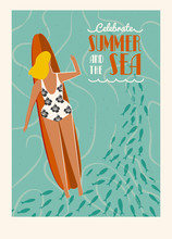 Zomer strand surf poster met tekst offerte. Geniet van de zomer en de zee poster.