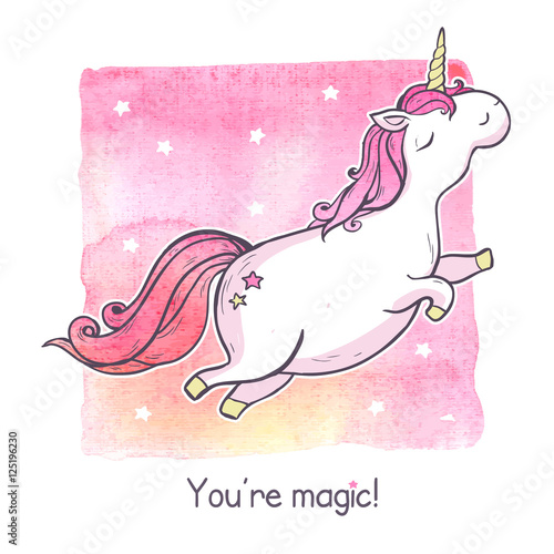 Cartoon magic unicorn.