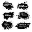 Set of Black ink vector grunge backgrounds