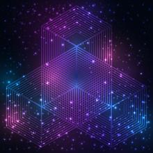 La science et les mathématiques abstrait avec des cercles, triangles, cube et un grand nombre de lignes. Sacré toile de fond de la géométrie. La chimie et l'astrologie. Les éléments graphiques pour la conception de l'identité.