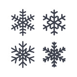 Fototapety Snowflake icons set. Gray silhouette snowflakes signs, isolated on white background. Flat design. Symbol of winter, snow, Christmas, New Year holiday. Graphic element decoration Vector illustration