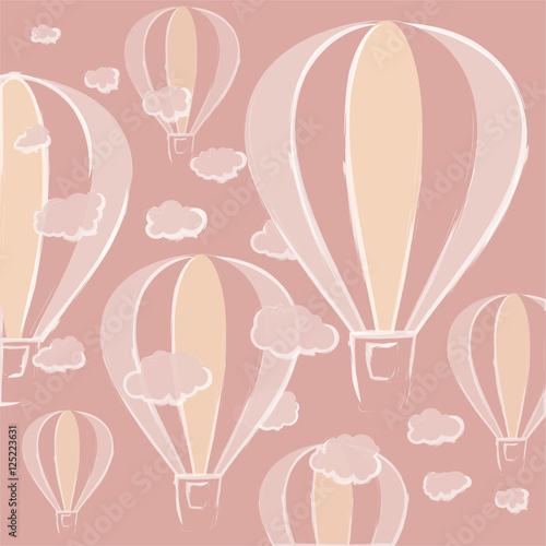 Background with hot air balloons in pastel colors executed in a decorative hand, accompanied by volume clouds.hot air balloons of different sizes and transparency. clouds with beautiful edges. - 125223631