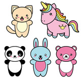 Fototapety Set collection of cute kawaii style happy smiling animals.
