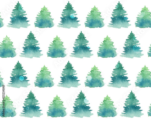 Cotton fabric Seamless pattern with watercolor fir trees.