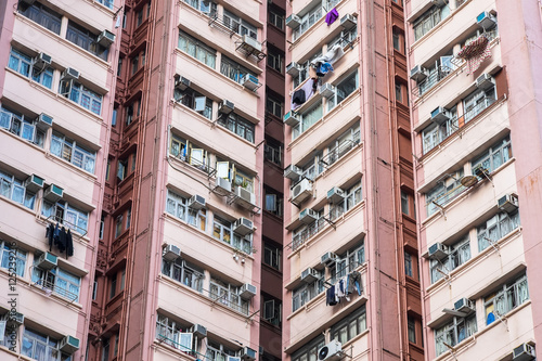 Poster Abstract city background. Apartment building in Hong Kong