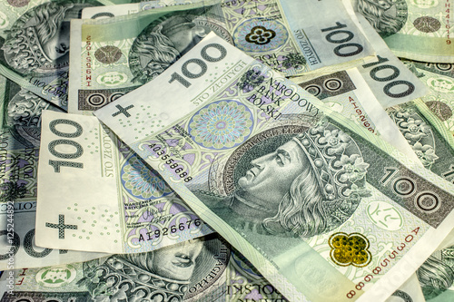 Poster Polish money banknotes Texture Background