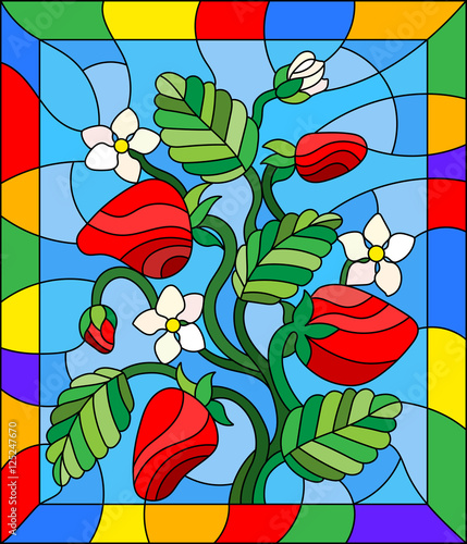 illustration-in-stained-glass-style-with-flowers-berries-and-leaves-of-strawberry-in-a-bright-frame