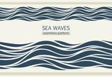 Seamless patterns with stylized waves - 125260099