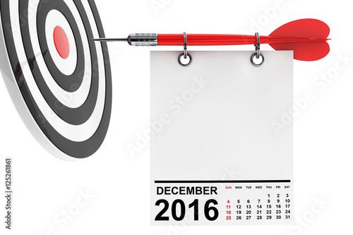 Calendar December 2016 with target. 3d Rendering