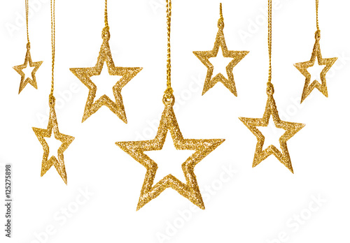 Poster Christmas Star Hanging Decoration, New Year Stars Set, Isolated