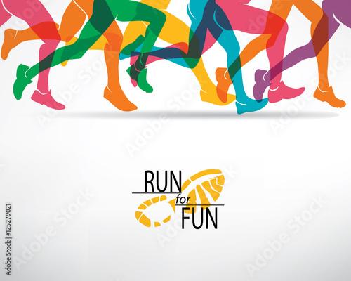 Fototapeta running people set of silhouettes, sport and activity backgroun
