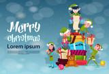 Fototapety Christmas Elf Group Cartoon Character Santa Helper With Present Box Stack Flat Vector Illustration