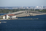 Pensacola Florida USA - October 2016 - Sikes Bridge which links Gulf Breeze to Pensacola Beach and Santa Rosa Island seen looking north