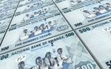 Rwandan francs bills stacked background. 3D illustration.