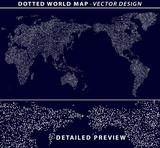 Dotted world map illustration on dark blue background. Vector design. - 125298864