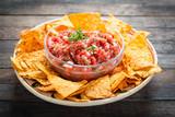 Salsa dip with tortilla chip