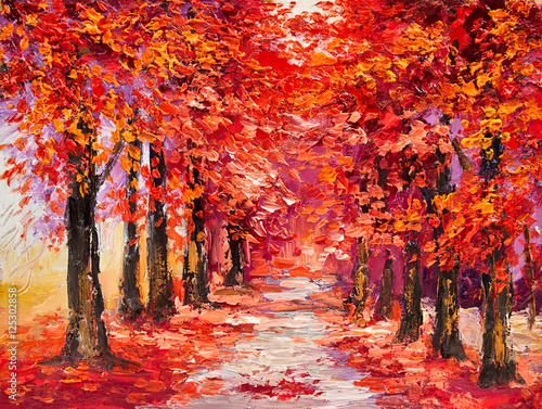 Fotobehang Rood traf. Oil painting, colorful autumn trees, impressionism art