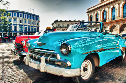 Vintage classic american car parked in a street of Old Havana Poster