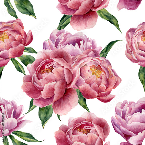 Watercolor peonies and leaves seamless pattern on white background. Floral texture for design, textile and background. - 125310896