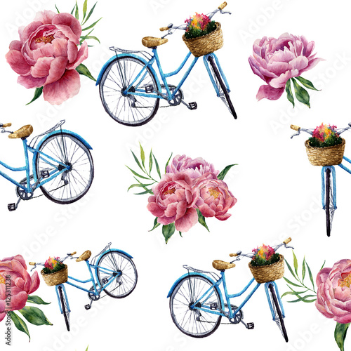 Materiał do szycia Watercolor floral and bicycle seamless pattern on white background. Illustration for design, textile, print and background.