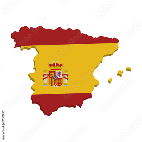 Plakát spain map geography isolated icon vector illustration design