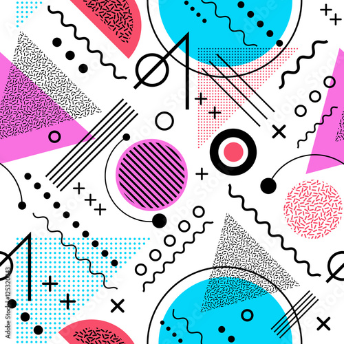 Fototapeta Seamless 1980s inspired graphic pattern of lines and geometric shapes. memphis style