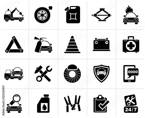 Black Roadside Assistance and tow icons - vector icon set | Buy