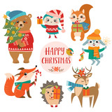 Set of cute forest animals with Christmas presents.