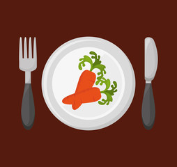 dish with vegetable menu vector illustration design