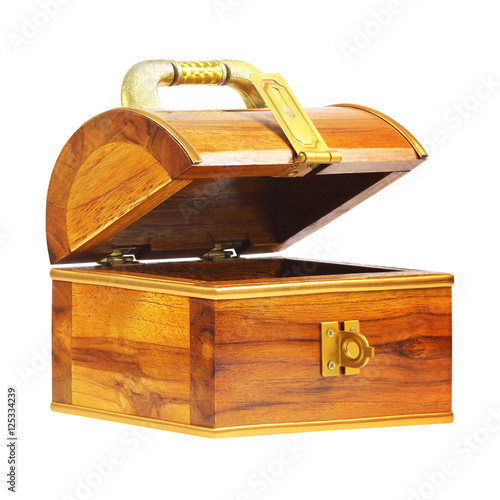 Poster treasure chest money box with a coin slot isolated on white back