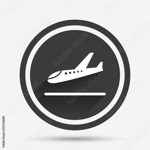 Poster Plane landing icon. Airplane transport symbol.