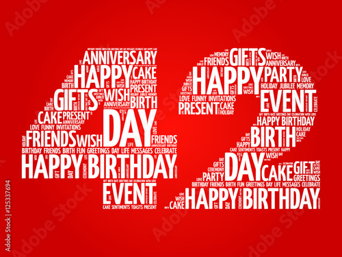 Happy 42nd Birthday Word Cloud Collage Concept Buy Photos Ap